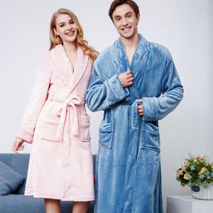 Couple Flannel Thicken Kimono Robe Gown Casual Hooded Nightgown With Pocket Bathrobe Winter New Warm Long Loose Night Dress
