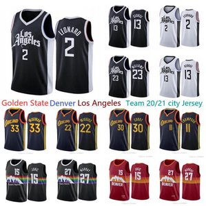 Nova temporada Homens Los Cidade Angeles 30 Curry 13 George 2 Leonard 15 Basquete Jokic Jamal 27 Murray 33 Wiseman 20/21 City Basketball Jersey