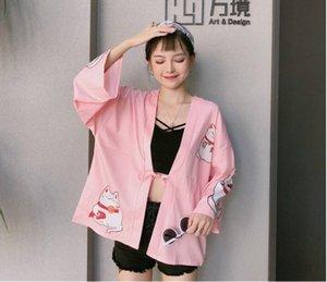 Женские женские куртки 2021 японские милые кимонос Cat Print Cardigan Harajuku Свободные кимоно розовые черные блузки Феминино верхняя одежда рубашки женские пальто
