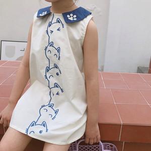 Summer cute little cat embroidery Sleeveless dresses 2020 baby girls casual doll collar dress Z1127