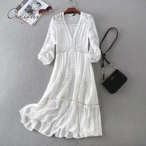 ORTIFREE Yaz Kadın Uzun Tunik Plaj Elbise Sundress Uzun Kollu Beyaz Dantel Seksi Boho Maxi Elbise Tatil Giysileri Y200120
