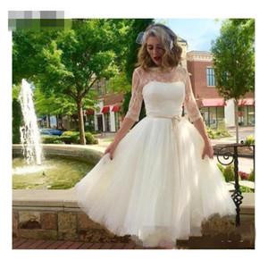 2021 Short Wedding Dresses Half Sleeves Crew Neck Simple Tulle champagne belt Boho Wedding Gowns Cheap Bridal Gown Vestido De Noiva