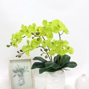 인공 진짜 터치 나비 난초 꽃 60cm DIY LATEX 난초 녹색 잎 가짜 화분 식물 결혼식 홈 장식