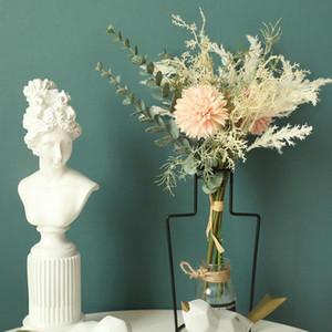 الأبيض الزهور الاصطناعية جودة عالية الحرير الهندباء البلاستيك eucalyptus الهجين باقة الزفاف المنزل الديكور وهمية زهرة