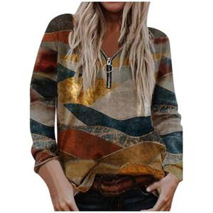 Women's Fashion Zipper Printed Long Sleeve Top Sweatshirt Women's Casual Long Sleeve Zipper Printed Tops 2020#30