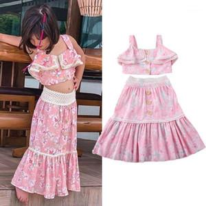 مجموعات الملابس 2021 أزياء لطيف الأزهار طفل كيد طفلة سترة قمم تنورة قصيرة 2 قطع الصيف ملابس ملابس الأميرة القطن ourits 1-2Y1