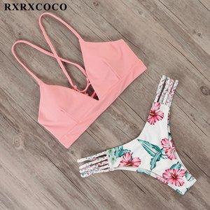 Rxrxcoco Bandage Swimwear Mulheres Brasileiro Feminino Thong Bikini Set maiô Push Up Flower Biquini Swimsuit