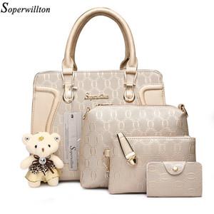 SOPERWILLTON Mode Luxus Frauen Tasche Designer Geldbörsen Handtaschen Set 4 Stück Taschen Weibliche Bolsa Feminina Hard # 1122 Q1118