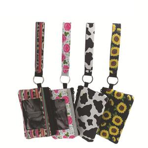 Neoprene wristlet keychain ID card bag mini wristlet zipper pouch with key belt sunflower strip leopard lanyard purse key ring