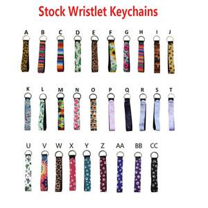 Neoprene Key Ring Wristlet Keychain Colourful Printed Key Rings Sunflower Leopard Rainbow Printing Keychain Wristlet Design 29 Styles XTL194