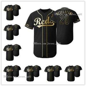 2019 Golden Edition CincinnatiRedsMEN WOMEN YOUTH 11 Barry Larkin 5 Johnny Bench Flex Base baseball Jersey