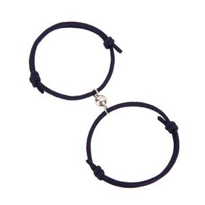 2 piezas pareja pulseras imanes atraen cada uno amante amistad regalo pulsera hombres y mujeres encanto pulsera joyería dde3917