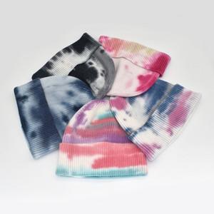 Осень и зима Новый Tie-Dye Печатные Трикотажные Hat хип-хоп ретро Melon Кожа Hat Мода Новый Теплый шерстяной Hat