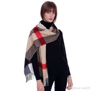 Erkekler ve Kadınlar için Kış Eşarp Kısa Kış Sıcak Saf Yün Eşarp Moda Püskül Boyun Kaşmir Eşarp 200 * 36 cm
