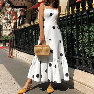 Womens Girls Boho Long Maxi Dress Fashion Ladies Polka Dot Printed Party Evening Beach Holiday Sundress Sleeveless Sling Dress