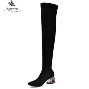 Sgesvier 2020 top quality stretch boots women suede leather sexy slim crystal heels dress party shoes women over the knee boots
