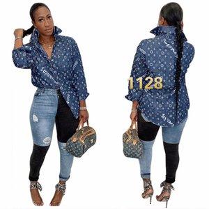 J2357 European and American cross-border women's fashion high-end denim jacket retro all-match trend printing shirt spot 1128L04