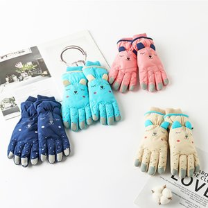 DHL Shipping Cartoon Kids Ski Gloves Warmest Waterproof Breathable Snow Mittens for Boy and Girl Skiing for Child Outdoor Kimter-X977FZ