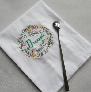 Embroidered Napkins Letter Cotton Tea Towels Absorbent Table Napkins Kitchen Use Handkerchief Boutique Wedding Cloth 5 Designs WZW-YW3845