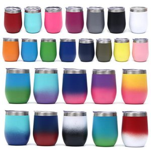 12oz Gradient Color Tumblers Stainless Steel Wine Egg Cup Water Bottle Double Wall Vacuum Insulated Beer Mug Drinkware Sea Shipping IIA626