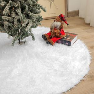 Carpeta de Navidad de peluche blanca alfombra de la piel Feliz Navidad decoraciones para el hogar Natal Tree Faldas Año Nuevo Decoración Navidad W-00503