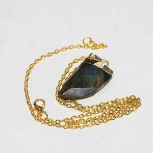 Gioielli di moda Grande naturale Labradorite Corno Gold Point Pendant Catena Collana Femme 2020 Chakra Collana in pietra Donne come regali