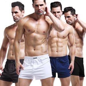 2020 Summer Men 100% Cotton Sleep Bottoms Male Beach Shorts Board Shorts Casual Loose Solid Pajama Short Pants Boxers