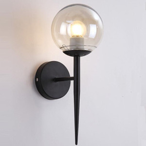 Brief Modern Wall Lamp For Bedside Glass Lampshade Single Light Gold Wall Sconce Light Creative Design Hallway