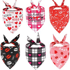 Valentines Day Dog Bandanas Double Sided Pet Triangle Scarf Dog Saliva Towel Pet Supplies Valentines Day Supplies HWD4206