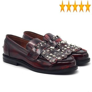 Rivets 2021 Mocassin Tassel Homme Genuine Cow Leather Men Handmade British Round Toe Business Casual Shoes Party Footwear