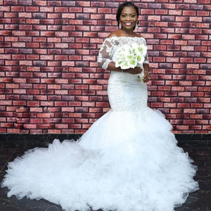Africa 3 4 Long Sleeves Lace Mermaid Wedding Dresses 2021 with Appliques Fluffy Ruffles Tulle Plus Size Bridal Gowns vestidos de novia