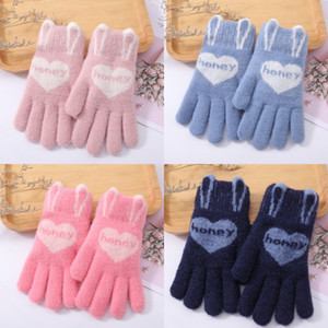 DHL Shipping Kids Heart Print Gloves Full Fingers Knitted Mittens Stretchy Warm Glove Winter Favor for Child Xmas Gift Kimter-X982FZ