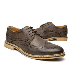 New Leather Brogue Mens Flats Shoes Cale Men Oxfords Fashion Brand Dress Shoes For Men Footwear dh24