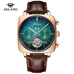 AILANG WATH Автоматическая механическая полых бизнес квадратных часов водонепроницаемый турбийон светящийся модный мужской наручные часы