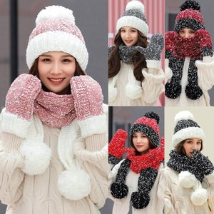 brand new and high quality 3Pcs Women Winter Warm Multicolor Knitted Venonat Beanie Hat+Scarf+Gloves Set Dropshipping