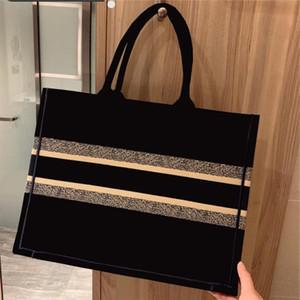 venda quente marca clássico saco de compra azul lona preta bordados de grande capacidade bolsa de alta qualidade designer mala bolsa de ombro feminino