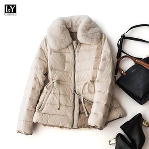LY VAREY LIN 2020 New Winter Women 90% White Duck Down Coats Fur Turn Down Collar Pleasted Pockets Loose Warm Outerwear