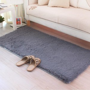 Grey Carpet 50*160cm 80*160cm Coffee Rugs For Bedroom Kitchen Floor Sofa Bed Side Home Decorative Soft Long Hair Non-slip Mat