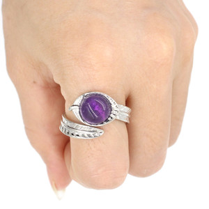 Leaf Shape Round stone Quartz Healing Chakra Stone Opening Rings Pink Purple Natural Stone Rings Kallaite for women men