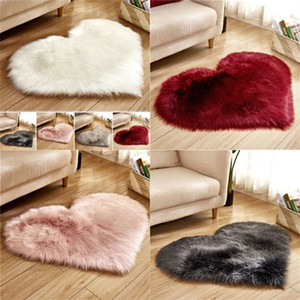 Plush Heart Shape Mat Living Room Office Imitation Wool Carpet Bedroom Soft Home Non Slip Rugs 90 G2