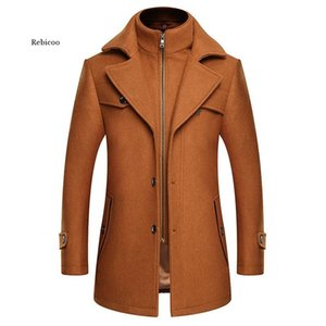 Male Windbreaker Men Thick Extra Long Blue Wool Coat Winter Woolen Blend Coat Slim Plus Size Mens Clothing Casual Overcoat 4Xl