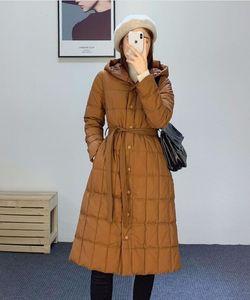 2020 겨울 손실 클리어런스! 가볍고 따뜻한 90 화이트 오리 아래로 벨트 중간 길이 두건이 된 자켓 여성