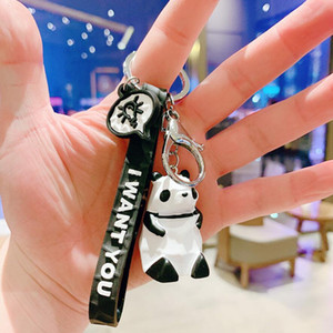 Cartoon Panda Dinosaur Keyring Keychain New Fashion Cute Animal Key Chain Accessories Action Figures Toys Bag Charms Car Key Rings Holder