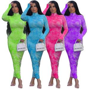 Kaplumbağa Boyun Pileli Elbise Bayan Tasarımcısı Yüksek Bel Ince Uzun Kollu Kalça Elbiseler İlkbahar Sonbahar Güz Moda Seksi Kadın Bodycon Uzun Elbiseler