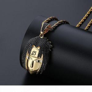 K Naruto Cartoon Head Pendant Naruto Sasuke Personality Necklace With Zircon Micro -Inlaid Men &#039 ;S Hip -Hop Jewelry