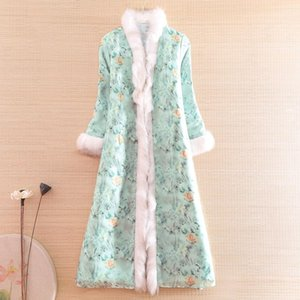 Autumn And Winter Women Parka Outerwear Retro Print Elegant Loose Lady Warm Luxurious Thick Trench Coat Female S-XXL