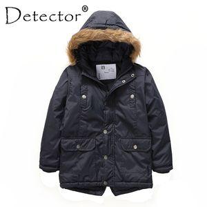 Detector Boys' Parka Jackets Hooded Warmly Children Cotton Coats Boy Winter Fur Coat Boys Kids Hiking Jacket Clothes Outerwear Q1202