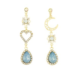 925 agulha de prata Brinco Baroque Lua Diamante Hollow Love Brincos Azuis Drop Diamante Brincos Personalidade Dangle Candelabro