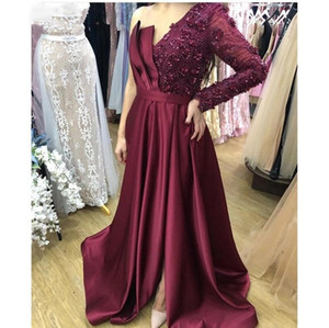 Setwell One Shoulder A-line Evening Dresses Long Sleeve Sequins Beaded Pleated Lace Appliques Floor Length Sexy Prom Party Gowns