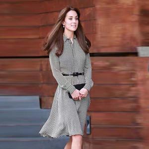 Kate Middleton Plus Size High Quality New Fashion Elegant Office Lady Casual Black White Shirt Dress